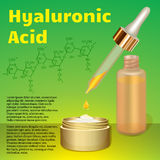 透明质酸奶油和乳化液 化学式 库存图片
