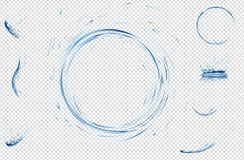 透明水飞溅,下落、圈子和冠从落入水在浅兰的颜色 向量3d例证 普里 免版税库存图片