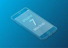 透明iPhone 7模板有蓝色背景和梯度 库存照片