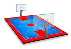 透视与盾的篮球场领域的传染媒介例证 传染媒介EPS 10 复制的空间 向量例证