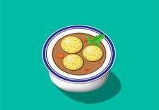 透视图,发酵的硬面球汤,传染媒介设计 库存例证