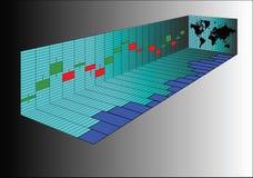 透视烛台股票图和世界地图 库存例证