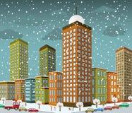 透视的(冬天)城市 库存照片