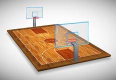 透视硬木与盾的篮球场领域的传染媒介例证 传染媒介EPS 10 复制的空间 向量例证