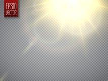 透镜火光光线影响 与射线的太阳光芒 向量 皇族释放例证