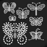 透雕细工白色蝴蝶 向量例证