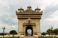 逐字地意味胜利胜利, Vient的门或门Patuxai 免版税库存照片