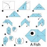 逐步的指示如何做origami鱼 库存照片