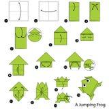 逐步的指示如何做origami A跳跃的青蛙 免版税图库摄影