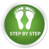 逐步的(脚印象)优质软的绿色圆的按钮 库存照片