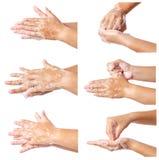 逐步洗涤医疗过程的手 库存图片