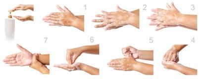 逐步洗涤医疗过程的手 免版税库存图片