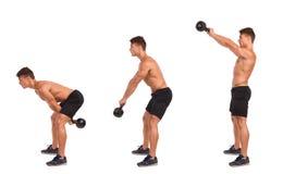 逐步Kettlebell的锻炼 库存图片