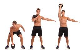 逐步Kettlebell的锻炼 免版税图库摄影