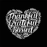 递与感激激动人心的行情的字法,感恩,保佑在心脏形状在黑背景的 向量例证