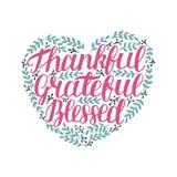 递与感激诱导的行情的字法,感恩,保佑在心脏形状与叶子的 库存例证