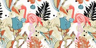 递与桃红色火鸟和热带le的画的无缝的样式 向量例证