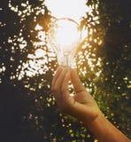 递举行电灯泡成功太阳e的概念想法人 库存照片