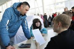 递交2016年2月14日在陈列室Severavto新的俄国汽车Lada X-射线的介绍 免版税库存图片
