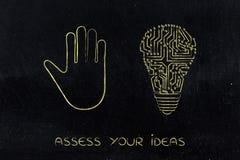 递做中止打手势和电子电灯泡& x28; idea& x29; 免版税库存图片
