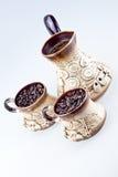 递做的咖啡具 免版税图库摄影