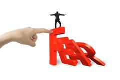 递停止恐惧下跌与人平衡的词多米诺它 免版税库存图片