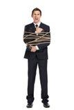 递公文包的商人一定与绳索 库存照片