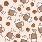 递凹道传染媒介与杯子的无缝的背景拿铁和咖啡豆 皇族释放例证
