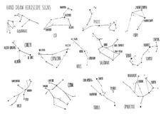 递凹道占星星座、所有黄道带标志与线和小点与主要星的名字 汇集的速写 皇族释放例证