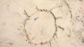 递凹道用太阳的木面孔棍子与光芒的在海岸Creat眼睛的湿沙子从叶子 股票视频
