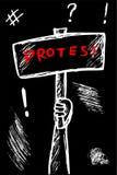 递凹道示范或抗议的剪影例证 皇族释放例证