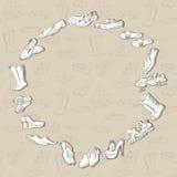 递另外鞋类的画的各种各样的类型在传染媒介的 库存照片
