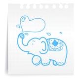 喷洒水cartoon_on纸笔记的大象 库存图片