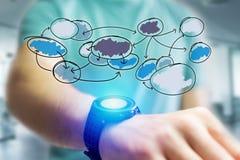 递图出去组织的象smartwatch接口  免版税库存照片