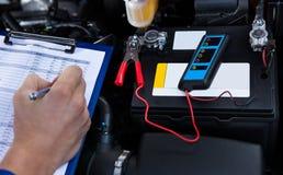 递在剪贴板的文字有钳子的被连接到多用电表 免版税库存照片