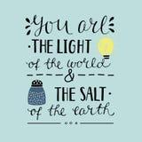 递在您上写字世界和地球的盐的光 免版税图库摄影