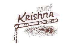 递字法文本白色背景的Shree克里希纳印度节日的Janmashtami 长笛,孔雀羽毛 库存例证