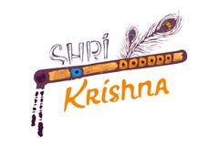 递字法文本Shree克里希纳长笛,孔雀羽毛 在印度节日的Janmashtami白色背景 皇族释放例证