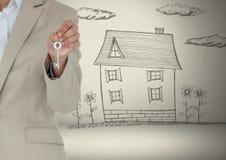 递对负关键与在小插图前面的房子图画 库存图片