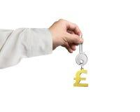 递把握与金黄磅标志形状钥匙圈的银色关键 免版税图库摄影