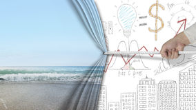 递拉扯自然沙滩帷幕报道的企业图 免版税库存图片