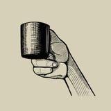 递拿着一个小的杯子,手拉的例证 库存图片