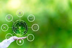递拿着与抽象全球企业周期剪影的地球在绿色背景 免版税库存照片