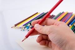 递拿着在五颜六色的铅笔旁边的一支铅笔 库存图片