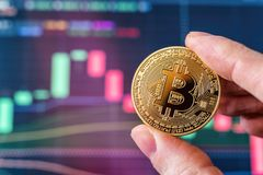 递拿着在屏幕前面的一枚Bitcoin硬币 免版税库存照片