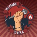 递拿着在拳头的一个话筒岩石减速火箭的海报的力量 例证 库存照片