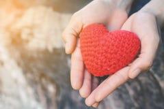 递拿着在自然背景的女性红色心脏 免版税库存图片