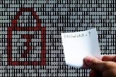 递拿着在锁着的二进制编码前面的一张纸 库存图片