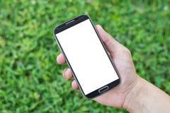 递拿着巧妙的电话(手机)在草背景 图库摄影