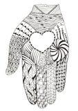 递拿着心脏zentangle被传统化,传染媒介,例证, fre 库存图片